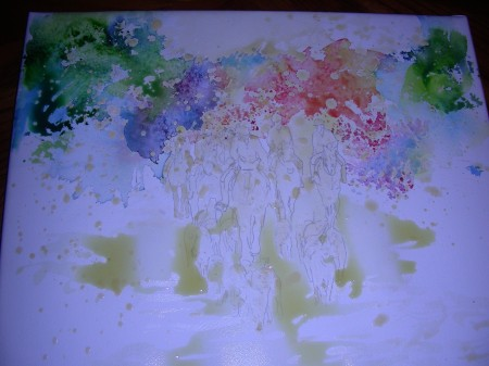 My first attempt at pouring the watercolors onto the wet paper.