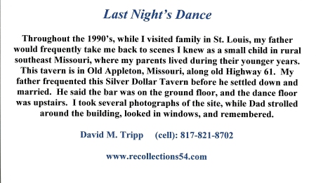 Card Last Night's Dance text