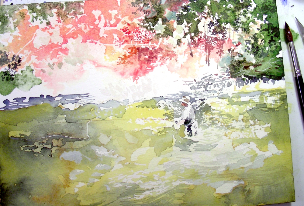 Second day on the fly fishing watercolor, February 21, 2010