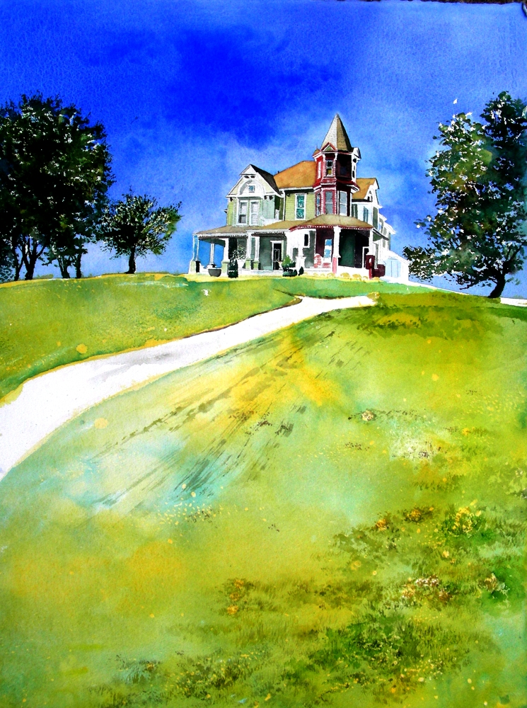 Edward Hopper-style Victorian Watercolor at Weatherford, Texas