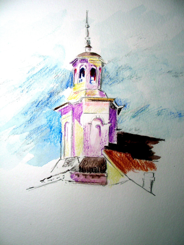 Rapid watercolor pencil sketch of methodist church tower provincetown methodist church tower