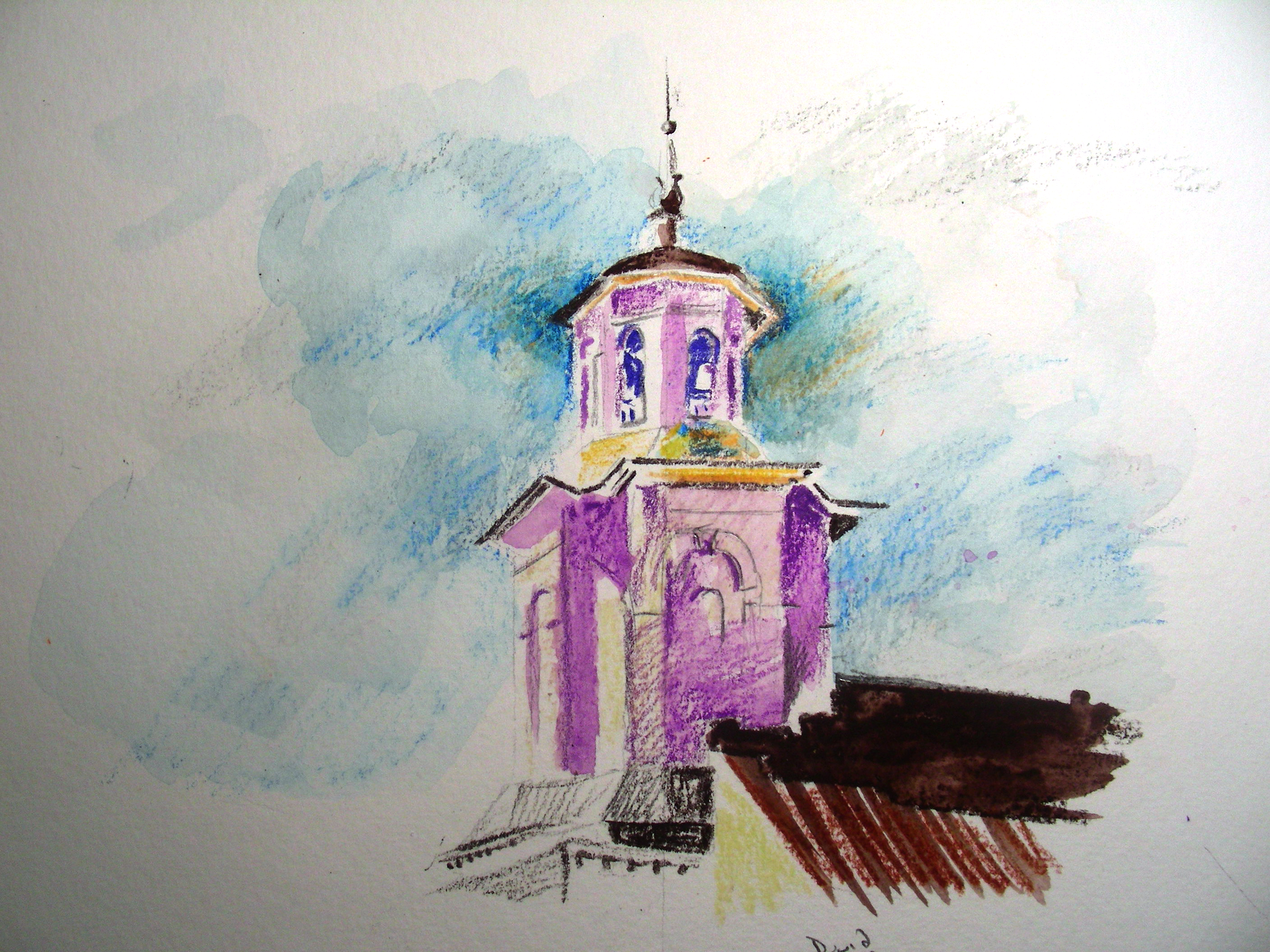 2nd watercolor pencil sketch of church tower methodist church tower 2