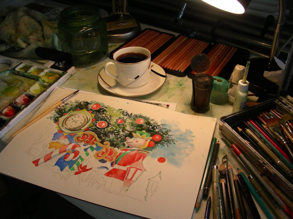 Creating Watercolor Christmas Cards in the Man Cave