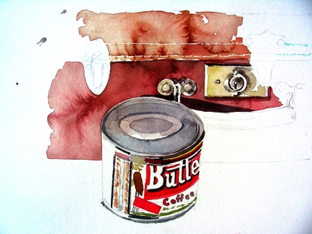 Butternut Coffee Tin and Vintage Suitcase Watercolor
