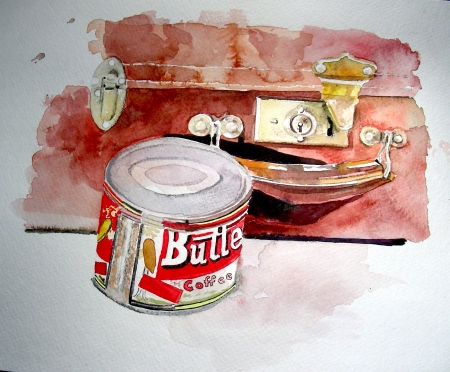 Vintage Coffee Tin and Suitcase