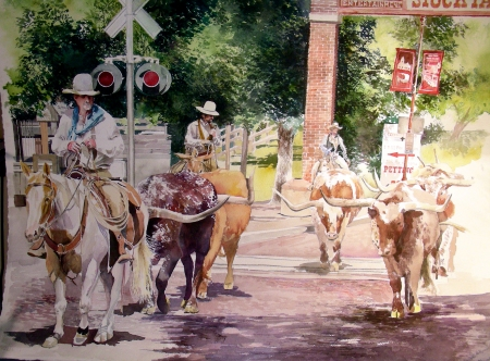 Longhorn Cattle Drive at the Fort Worth Stockyards