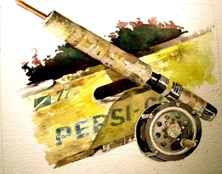 Study of Bamboo Flyrod and Pflueger Reel with Pepsi Crate