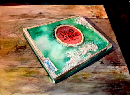 Watercolor of antique Lucky Strike cigarette tin on antique table