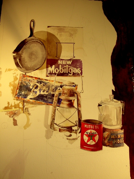 Watercolor Still Life in the Man Cave