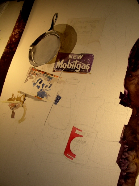 Large Watercolor Still Life in the Works