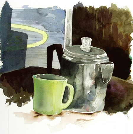 Watercolor with Jadeite Mug in Progress