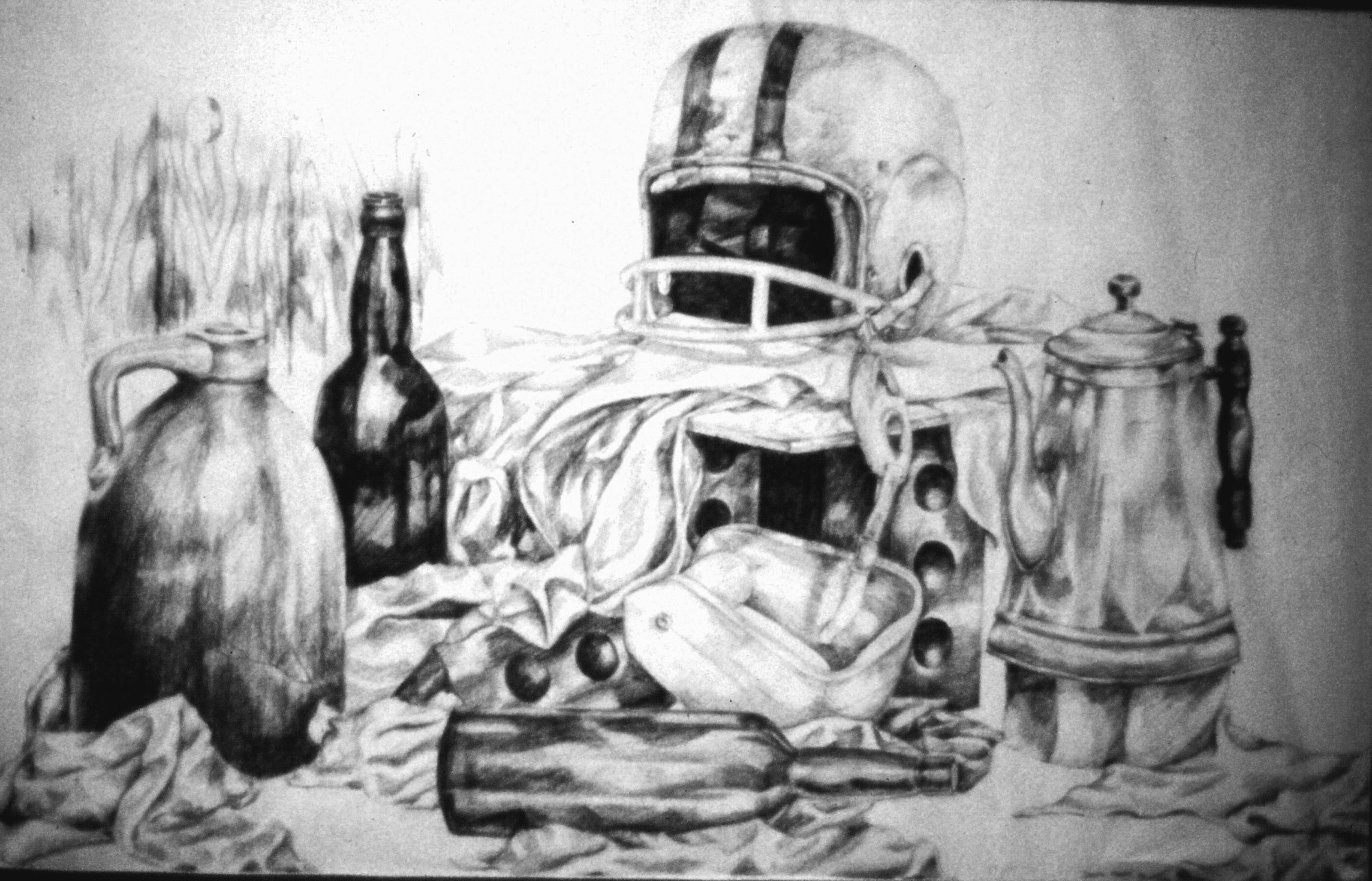 """22 x 28"""" Charcoal Still Life from 10th Grade"""