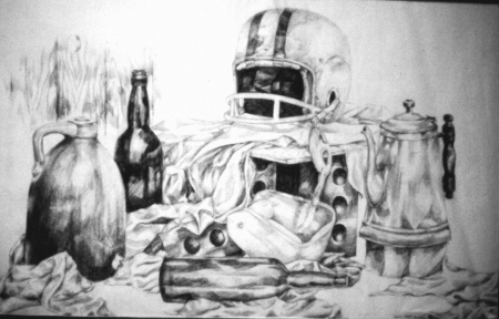 "22 x 28"" Charcoal Still Life from 10th Grade"