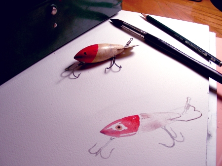 Beginning Watercolor Sketch or a Vintage Bass Plug