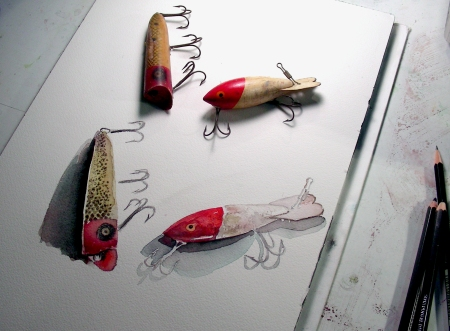 Watercolor Sketches of Vintage Fishing Lures