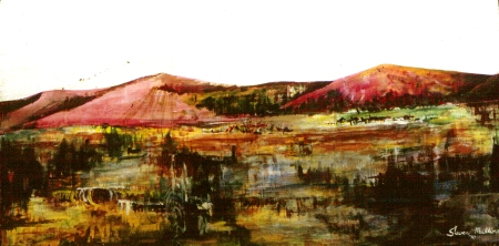 """Old Bones Valley"" first acrylic landscape by Steve Mullins, 1970"