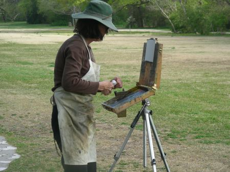Plein air artist working behind me