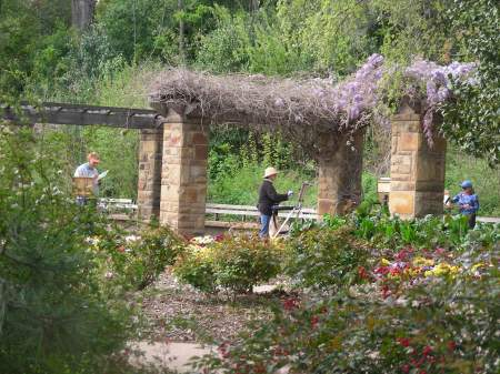 Artists painting in the Fort Worth Botanical Gardens