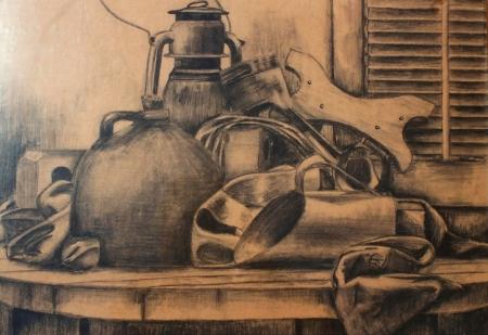 Charcoal Still Life by Steven A. Mullins, 9th Grade, Art I