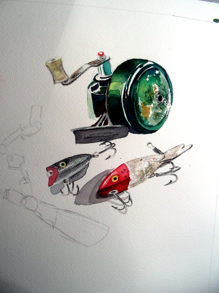 Watercolor Sketch of Vintage Fishing Equipment