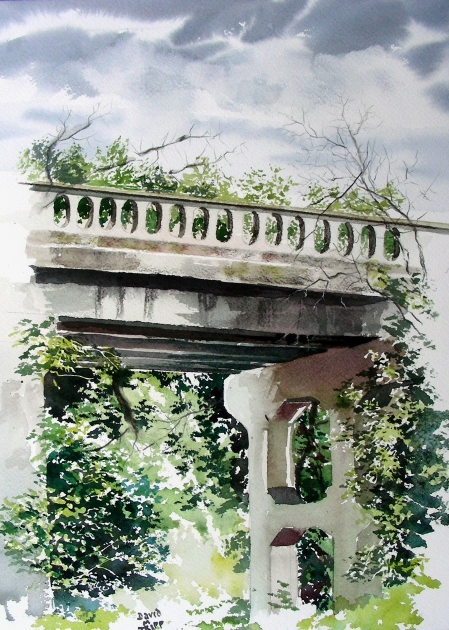 Plein Air Painting of Waxahachie Bridge