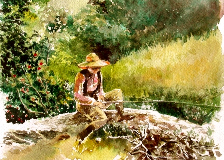 "Inspired by WInslow Homer's ""The Whittling Boy"""