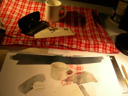 Beginnings of a cafe still-life