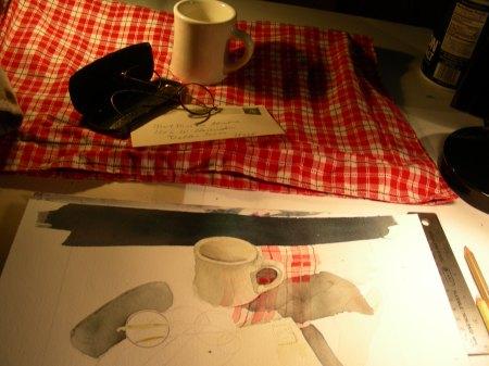 Beginnings of a cafe still-life