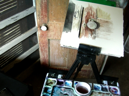 Finishing a Small Antique Door Watercolor in the Man Cave