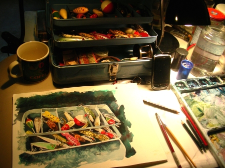 Finishing the Tackle Box Watercolor in the Cave