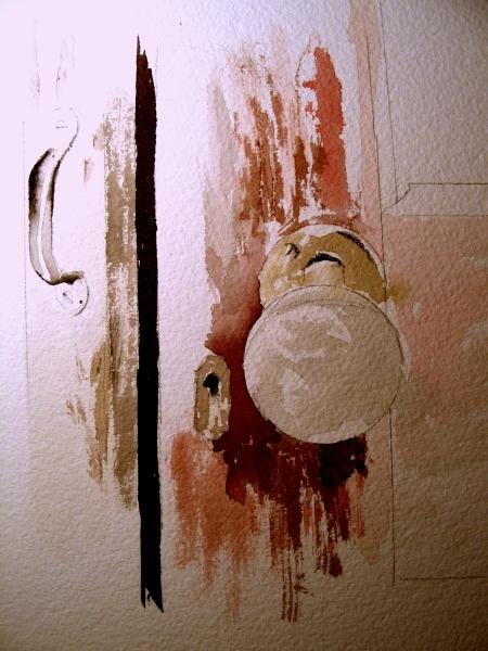 Rapid Watercolor Sketch of the Door knob