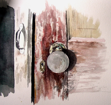Finished Dry Brush Study of Antique Door Knob and Screen Door