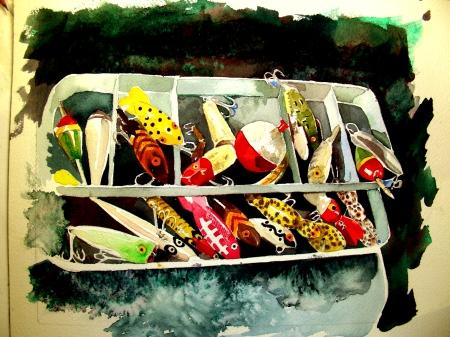 "8 x 10"" watercolor sketch of vintage lures"