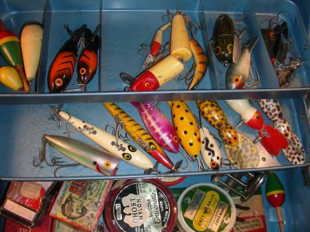 Tackle Box Filled with Vintage Lures