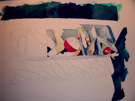 "Quick 8 x 10"" Watercolor Sketch of Tackle Box"