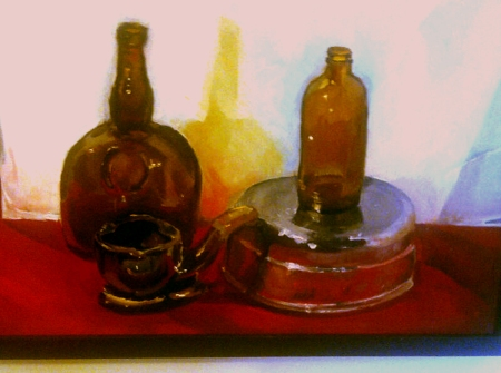 "Still Life in Oil, by a ""gifted"" student"