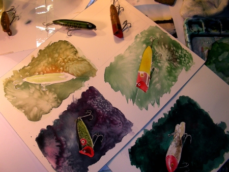 multiple watercolor sketches of vintage lures in progress