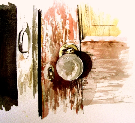 Drybrush Watercolor Study of Pair of Doors