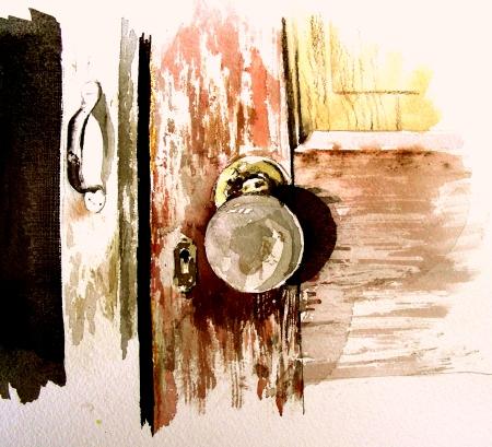 Drybrush Watercolor Study of Pair of Doors