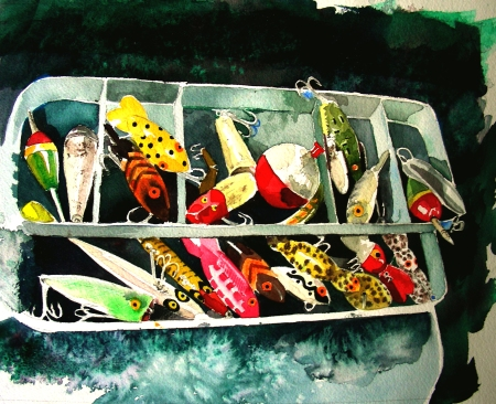 Finished Painting of Vintage Lures in Tackle Box