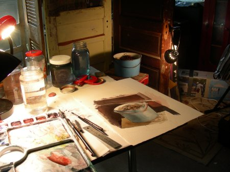 Working on a Wyeth-style Still Life in the Man Cave