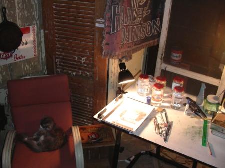 The Man Cave Studio as I work Tonight