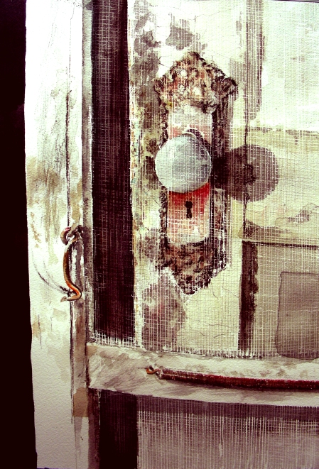 Completed Watercolor Study of Screen Door