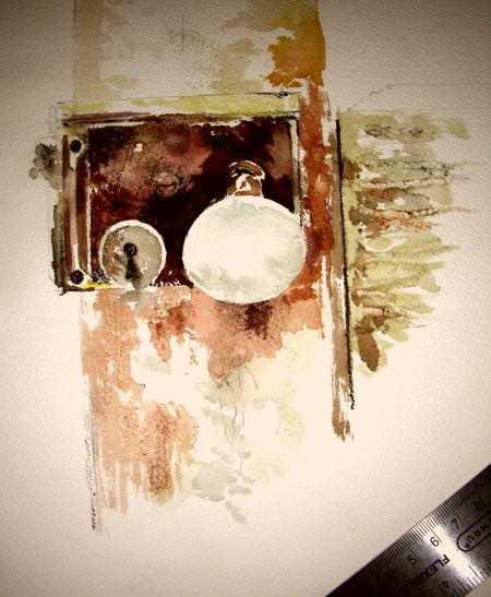 Demonstration Watercolor Sketch of Antique Doorknob