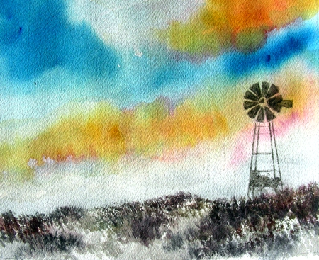Windmill Watercolor Sketch Number 3