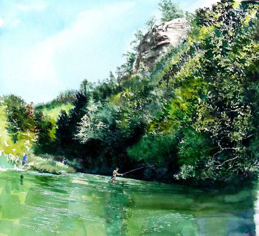 Painting on a Sunday Afternoon, While Dreaming of Fly Fishing