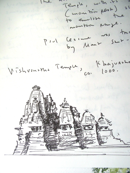 Ink Sketch of Vishvanatha Temple, Khajuraho, India