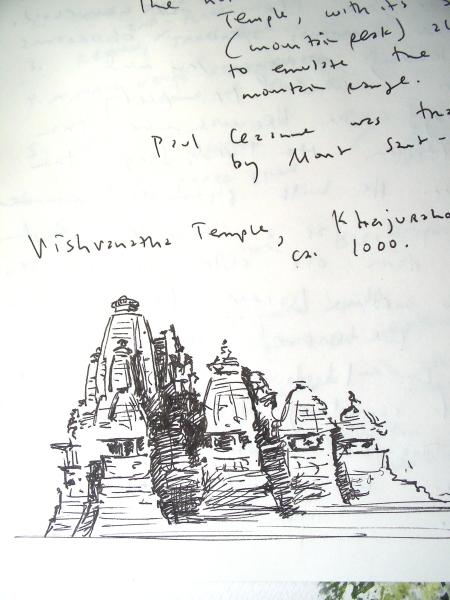 Ink Sketch of Vishvanatha Temple, Khajuraho, India