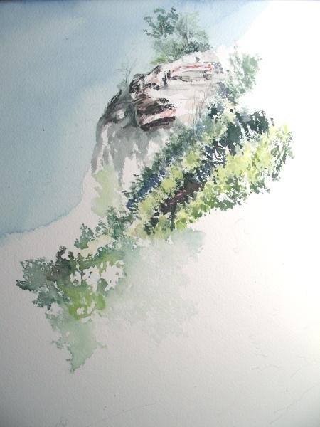 "Beginning of an 18 x 20"" watercolor of Beavers Bend."