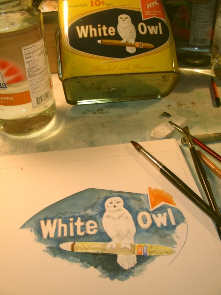Evening Watercolor Sketch of White Owls